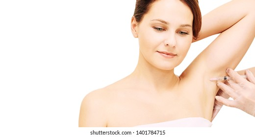 Armpit cosmetology injection. Sweat treatment in cosmetic clinic. Woman skin care procedure. Doctor hand.