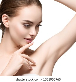 Armpit woman clean healthy skin hand up