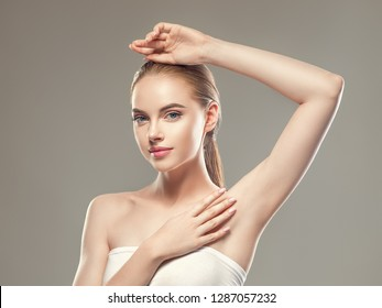 Armpit woman depilation concept clean body