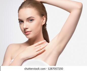 Armpit woman depilation concept clean body