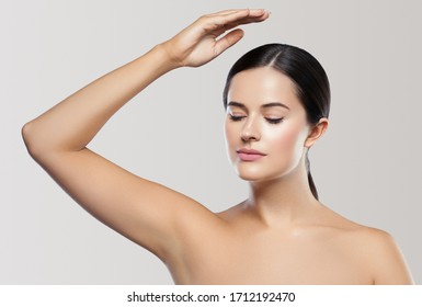 Armpit woman hand up clean skin depilation concept