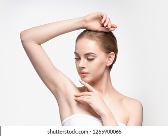 Armpit woman hand up deodorant care depilation concept
