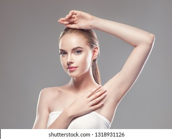 Armpit woman hand up deodorant epilation clean concept