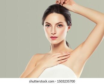 Armpit woman hand up epilation concept