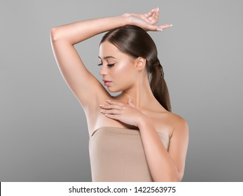Armpit woman healthy clean skin depilation concept arm up