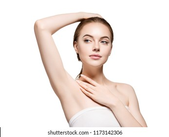 Armpits woman beautiful body depilation arms up female beauty