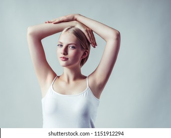 Armpits woman beauty clean fresh skin hand up