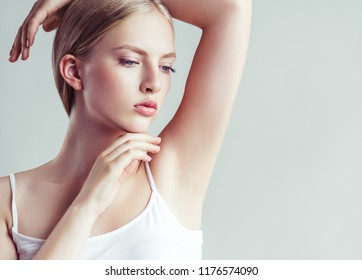 Armpits woman beauty hands up female skin portrait