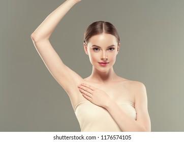 Armpits woman beauty hands up female skin portrait