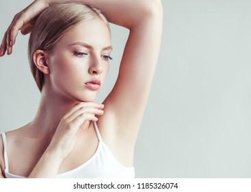 Armpits woman hands up beauty