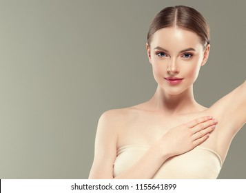 Armpits woman with healthy beauty skin hands up