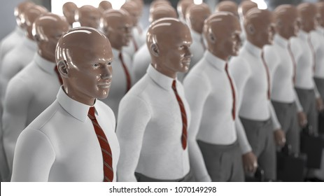 army of artificial workers, 3d illustration