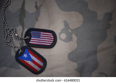 army blank, dog tag with flag of united states of america and puerto rico on the khaki texture background. military concept