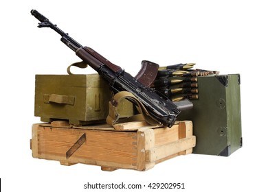 army box of ammunition with AK rifle and ammunition isolated
