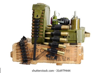 army box of ammunition with ammo belt and hand grenades isolated
