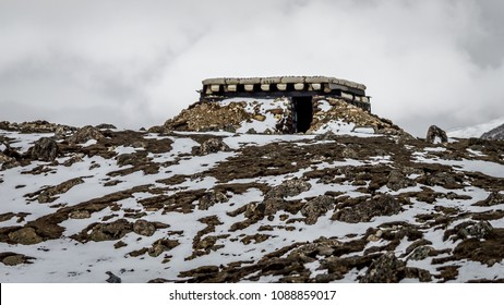 An army bunker perfectly camaflouged on the snow and rocky terrains of the Eastern Himalayas