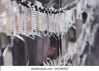Army Dog Tags Hanging in Memory for Memorial Day and Veteran's Day
