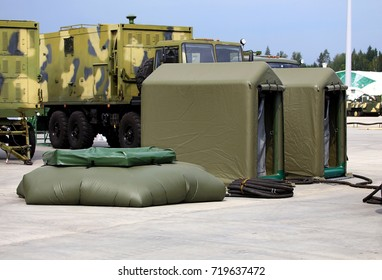 Army field kit for decontamination of personnel and weapons consisting of tents and shower  tubular construction with water supplying system