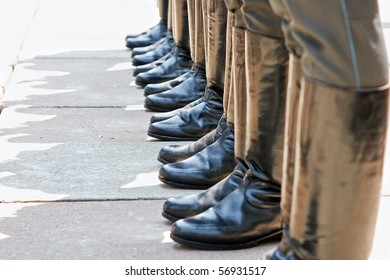 Army footwear on parade