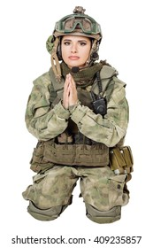 army girl pray clasp hands palms, soldier woman in a military uniform over white background