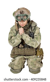 army girl pray closed eyes clasp hands palms, soldier woman in a military uniform over white background