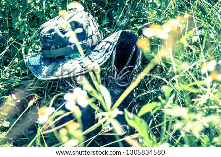 ac1f07964745f Army Hat Combat On Floor Thai Army Peace Stock Photo (Edit Now ...