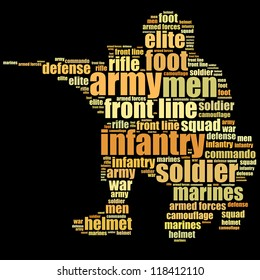 Army infantry info-text graphics and words cloud concept