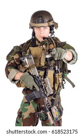 Army man in uniform pointing finger at you. war, army, weapon and people concept. Image on a white background.