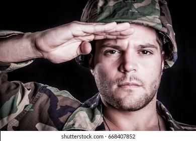 Army marine military man salute
