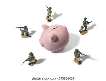 Army Men Protecting Piggy Bank