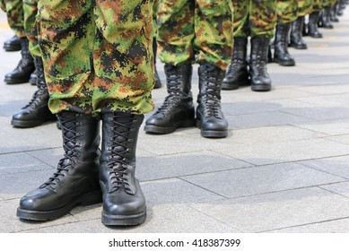 Army - military boots, soldiers standing in line