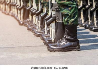 Army parade - boots close-up