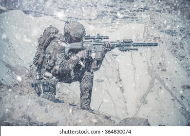 Army ranger in the mountains