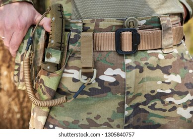 Army set on the soldier's belt - military knife, scabbard, carbine (clasp), rope