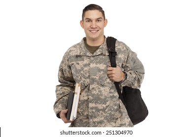 Army soldier with books and bag against white background