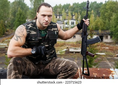 Army soldier with a gun