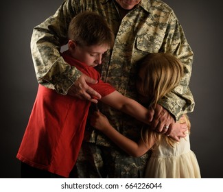 An army soldier man is home and hugging his children for a love, family or reunited concept.