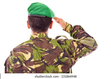 Army soldier saluting isolated on white background.Back view