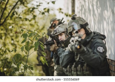 Army soldiers during the military operation. war, army, technology and people concept
