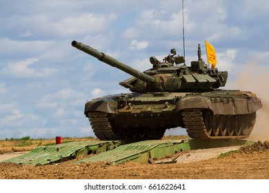 Army tank. Military training. Summer military exercises.