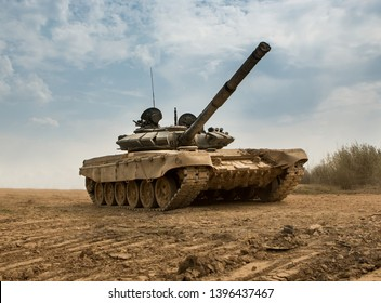 Army tank in war battle
