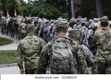 Army troupes marching