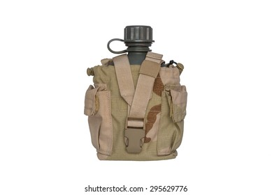 Army water canteen with desert cover isolated on a white background