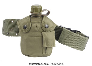 Army water canteen with pistol belt isolated