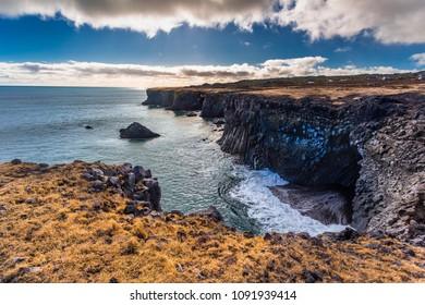 Arnarstapi cliff in snæfellsnes Iceland