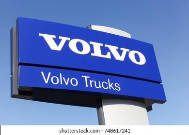 Arnas, France - June 17, 2017: Volvo trucks sign on a panel. Volvo trucks is a global truck manufacturer based in Gothenburg, Sweden