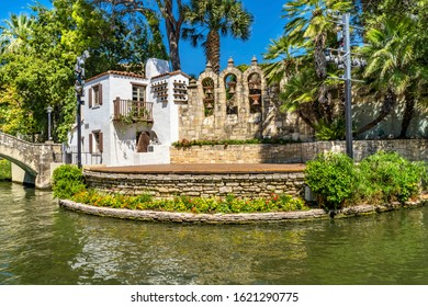 Arneson River Theater Reflection River Walk San Antonio Texas. 15 Mile River Walk created in the 1960s to deal with flood problem. Theater created in 1941.