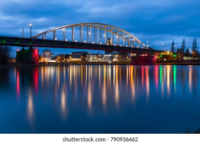 Arnhem John Frost Bridge with reflecting water, long exposure during the blue hour