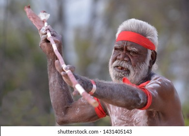ARNHEM LAND, NT - JUNE 08 2019:Senior adult Indigenous Australians aboriginal man holding weapon, dancing a cultural ceremony dance in aboriginal tribe event in the Northern Territory of Australia.
