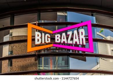 Arnhem, Netherlands 15.04.2018:  Big Bazar sign in Arnhem. Big Bazar is a Dutch big discount chain store with over 100 outlets in the Netherlands and Belgium.